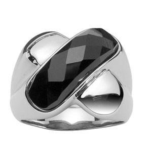 Bague En acier forme x avec pierre noire facetée