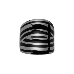 Bague En acier rayée noire et grise