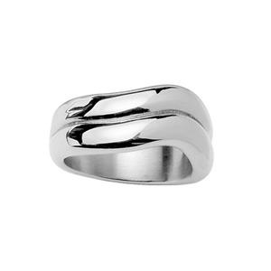 Bague Acier femme 2 anneaux ondulés