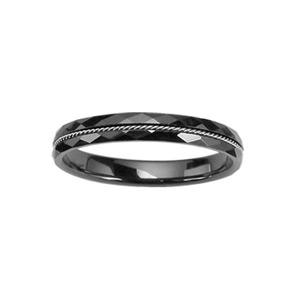 1001 Bijoux - Bague anneau céramique 3mm facettes noir 3mm fil acier torsade pas cher