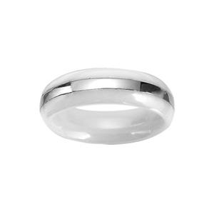 Alliance En céramique blanche 6mm avec bande en acier brillant au milieu