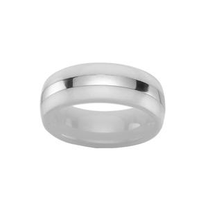 Alliance En céramique blanche 8mm avec bande en acier brillant au milieu