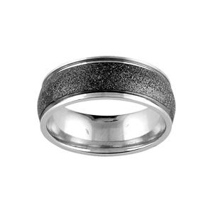 Alliance En acier avec bande granitée noire au milieu et bords brillants
