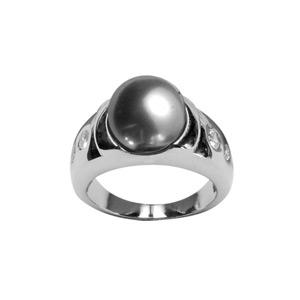 Image of Bague acier perle grise et trio de petites pierres blanches sur monture