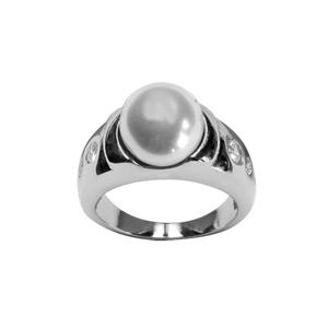 1001 Bijoux - Bague acier perle blanche et trio de petites pierres blanches sur monture pas cher