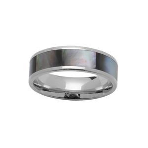 Alliance En acier et nacre grise véritable 7mm