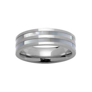 Bague 6mm avec 2 bandes en nacre blanche véritable et acier brillant au milieu et aux bords