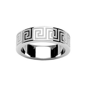 Bague En acier avec motifs grecs blancs