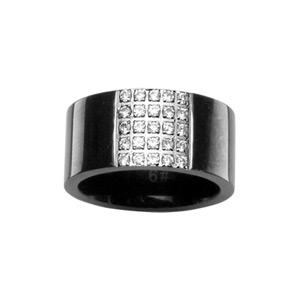 1001 Bijoux - Bague anneau PVD noir pavé pierres blanches pas cher