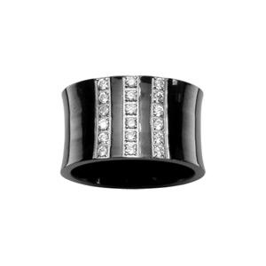 1001 Bijoux - Bague PVD noir 3 rangs pierres blanches pas cher