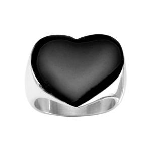 Bague En acier avec coeur noir plat