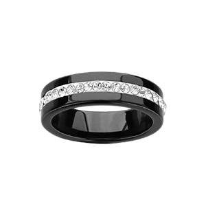 Alliance En acier et céramique noire 6mm rail d'oxydes blancs sur filet blanc