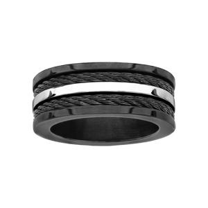 Alliance En acier et pvd noir structure h avec 2 câbles noirs et un liseret en acier brillant au milieu