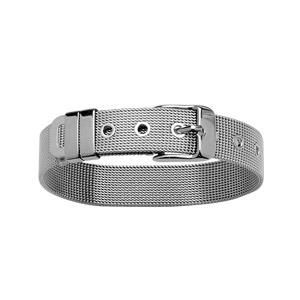 Bracelet en acier ceinture large en mailles souples ajustable de 17cm à 21cm