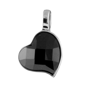 Pendentif Acier coeur pierre noire facetté