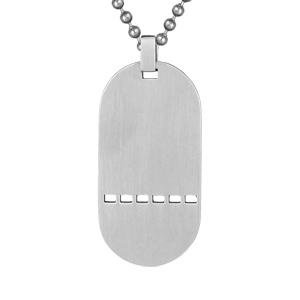 1001 Bijoux - Plaque militaire acier trouée avec chaîne boule pas cher