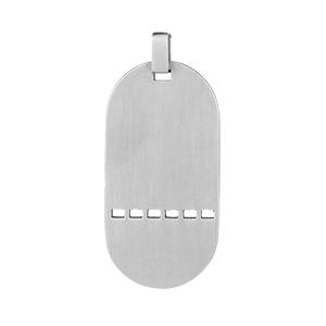 1001 Bijoux - Pendentif Plaque GI trouée/matricule en acier pas cher