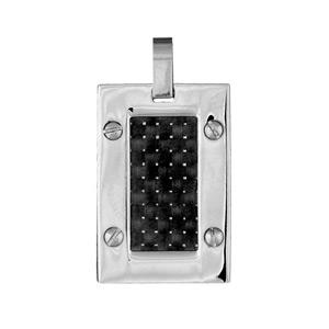 Pendentif carbone et acier rectangle double face