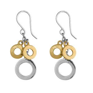 Boucles D'oreilles bicolores pendantes 3 anneaux, 2 petits jaunes et 1 plus gros et gris à l'extrémité d'une chaînette et fermoir crochet