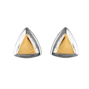 Boucles D'oreilles bicolores triangle avec tour gris et intérieur jaune et fermoir tige à poussette