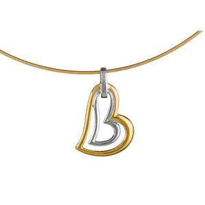 Collier Bicolore omega pendentif coeur