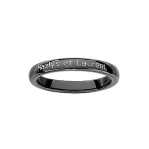 Alliance Demi-Jonc en céramique noire 3mm