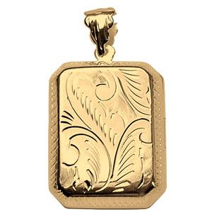 1001 Bijoux - Pendentif cassolette Rectangle vermeil - grand modèle pas cher