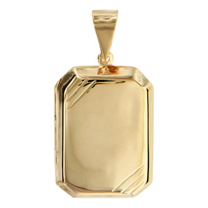1001 Bijoux - Pendentif cassolette rectangulaire biseauté vermeil grand modèle pas cher