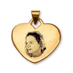 1001 Bijoux - Pendentif coeur vermeil gravure portrait pas cher