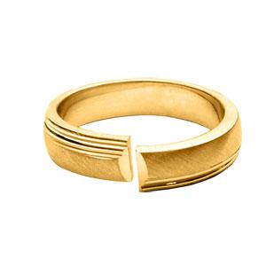 Alliance En vermeil 5mm anneau ouvert bande brossée et rainures et brillantes