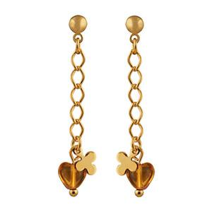 Boucles D'oreille plaqué or pendant chainette coeur zirconia orangé et petite fleur