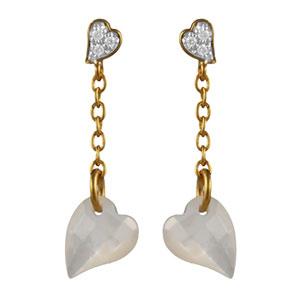 Boucles D'oreille tige plaqué or pendante coeur nacre facete blanche et coeur pierres blanches