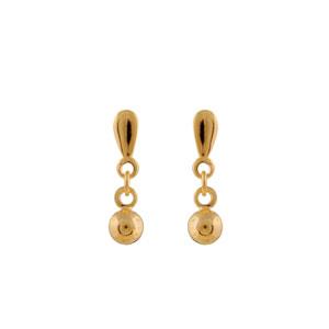 Boucles D'oreilles pendantes en plaqué or 2 maillons avec petite boule suspendue et fermoir tige à poussette