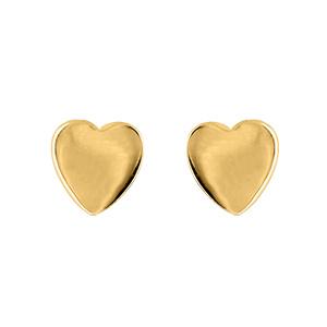 Boucles D'oreilles en plaqué or coeur lisse et fermoir tige à poussette