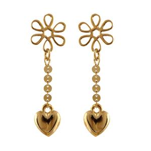 Boucles D'oreilles pendantes en plaqué or fleur avec chaînette et coeur lisse à l'extrémité et fermoir tige à poussette