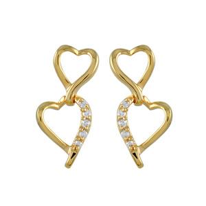 Boucles D'oreilles en plaqué or deux coeurs de taille différente dont 1 orné d'oxydes blancs et fermoir tige à poussette