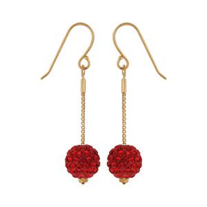 Boucles D'oreille crochet plaqué or pendante grosse boule résine 10mm strass rouges