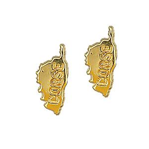 Boucles D'oreille carte de la corse plaqué or
