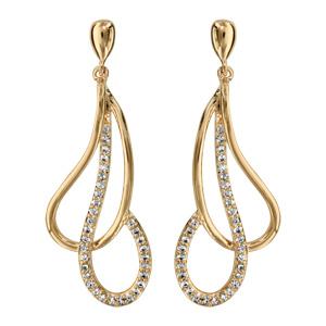 1001 Bijoux - Boucles d'oreille tige plaqué or goutte évidée croisée oxydes blancs sertis pas cher