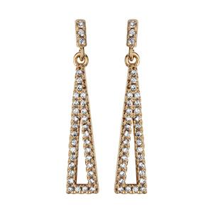 1001 Bijoux - Boucles d'oreille tige plaqué or pendante triangle alonge évidé oxydes blancs sertis pas cher