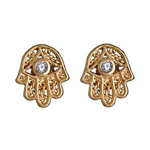 Boucles D'oreille main de fatma avec pierre blanche plaqué or