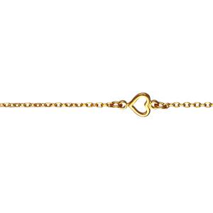 Bracelet Plaqué or maille forçat et coeur découpé réglable 16+3cm