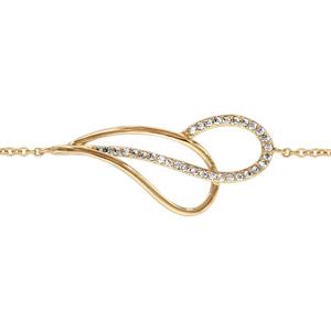 1001 Bijoux - Bracelet plaqué or goutte évidée croisée oxydes blancs sertis 16+2cm pas cher