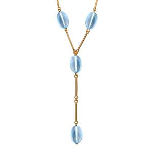 """1001 Bijoux - Collier plaqué or forme """"Y"""" 4 pierres bleu ciel 43cm réglable 41cm pas cher"""