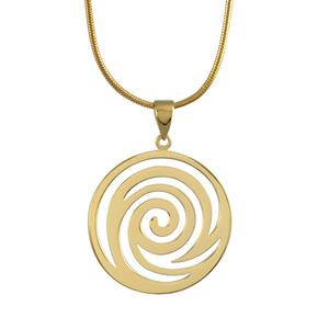 Image of Collier plaqué or pendentif forme spirale ronde 42cm