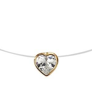 1001 Bijoux - Collier plaqué or fil nylon pendentif coeur pierre blanche 40cm pas cher