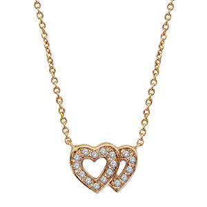 1001 Bijoux - Collier plaqué or double coeur ajouré contour pierres blanches 40+2+2cm pas cher