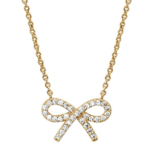 Image of Collier plaqué or motif noeud strass blancs 40+4cm