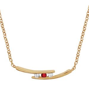 1001 Bijoux - Collier plaqué or 2 branches 2 pierres blanches et 1 centrale rouge 44,5+3,5cm pas cher