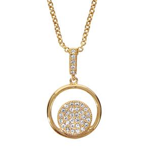 1001 Bijoux - Collier plaqué or pendentif rond avec pastille pave oxydes blancs sertis 40+4cm pas cher